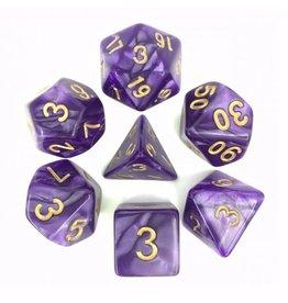 HD Dice, LLC. Pearlescent Purple/Gold Poly Dice (7)
