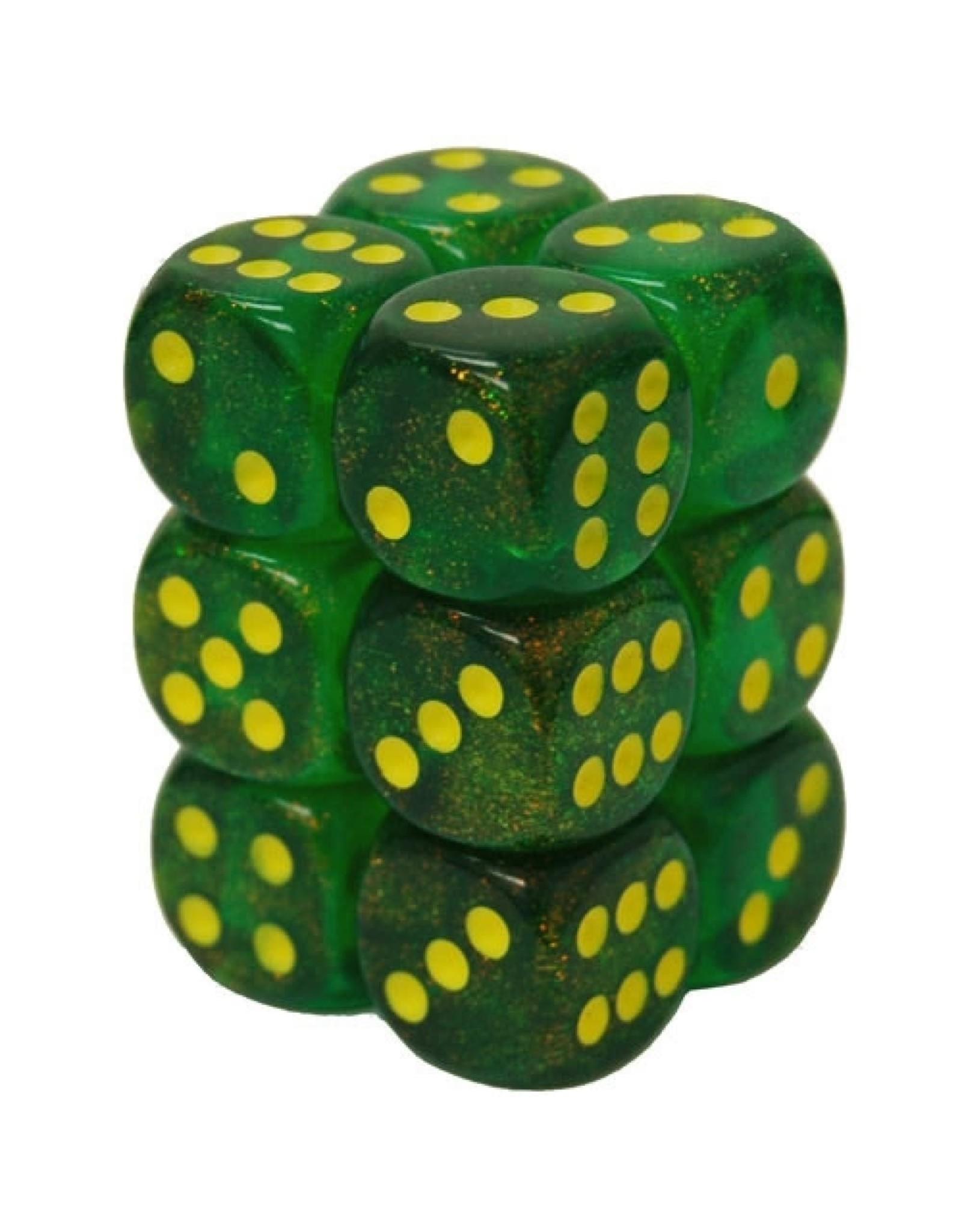 Chessex Borealis Maple Green w/ Yellow d6 16mm (12)