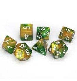 Chessex Gemini Poly Gold-Green/White (7)