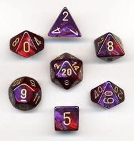 Chessex Gemini Poly Purple-Red/gold (7)