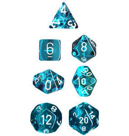 Chessex Translucent Poly Teal/White (7)