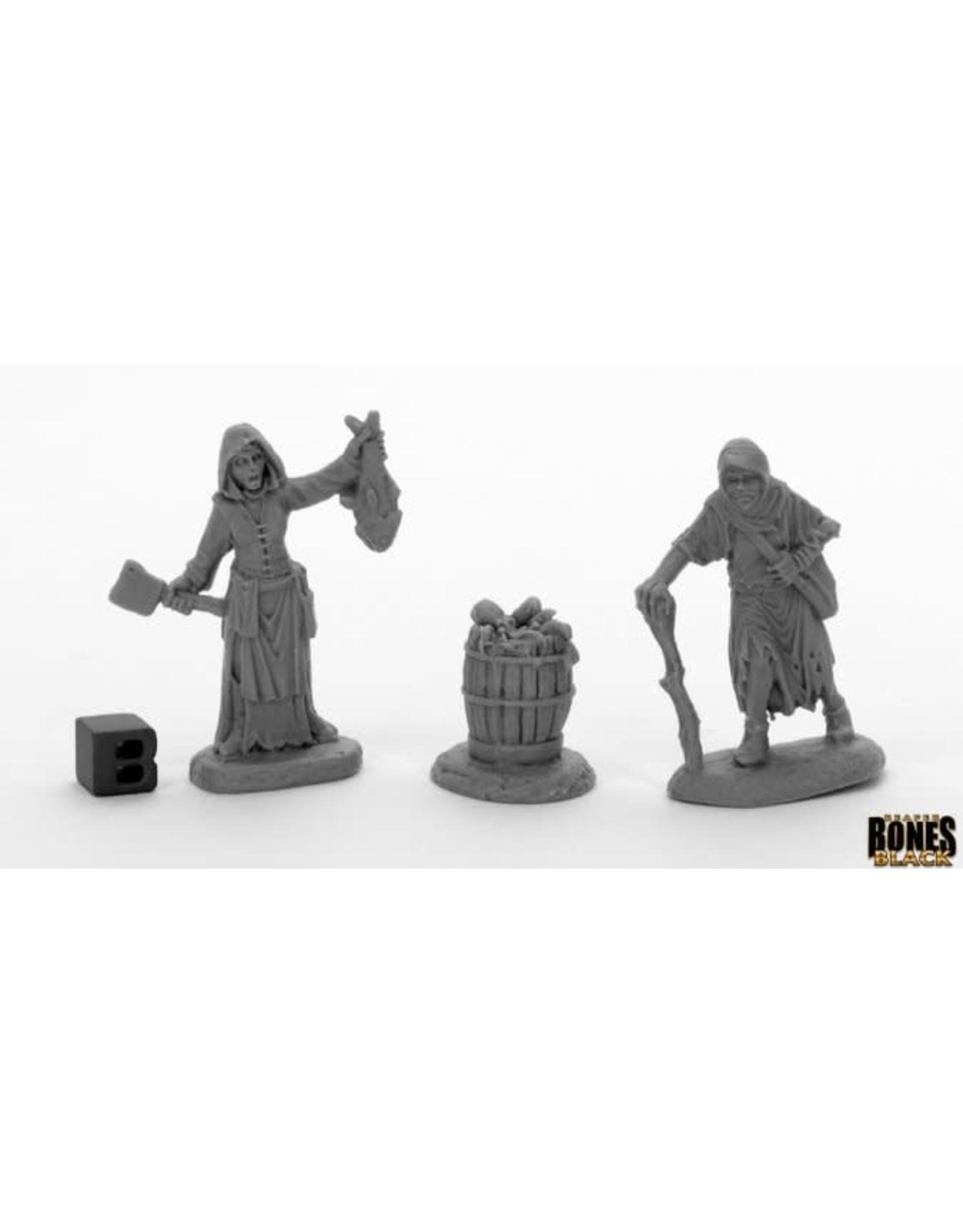 Reaper Miniatures Bones Black: Townsfolk Fishwife & Crone