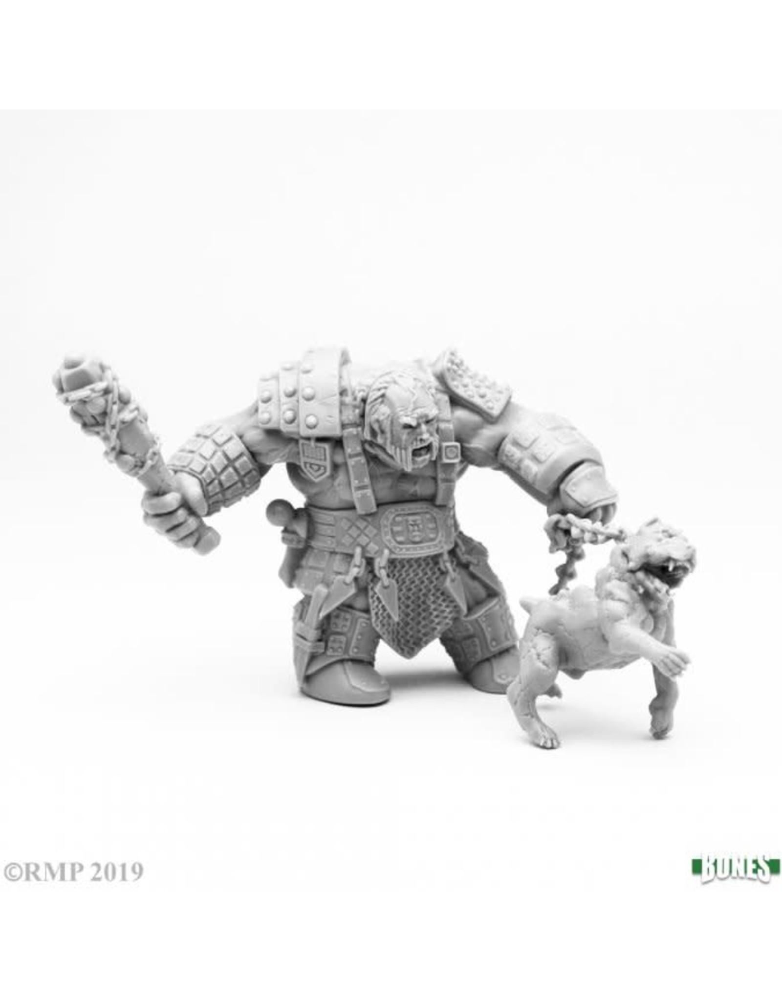 Reaper Miniatures BONES FIRE GIANT HUNTSMAN W/ HELL HOUND