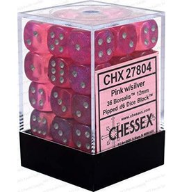 Chessex Borealis #2 12mm d6 Pink/silver Dice Block