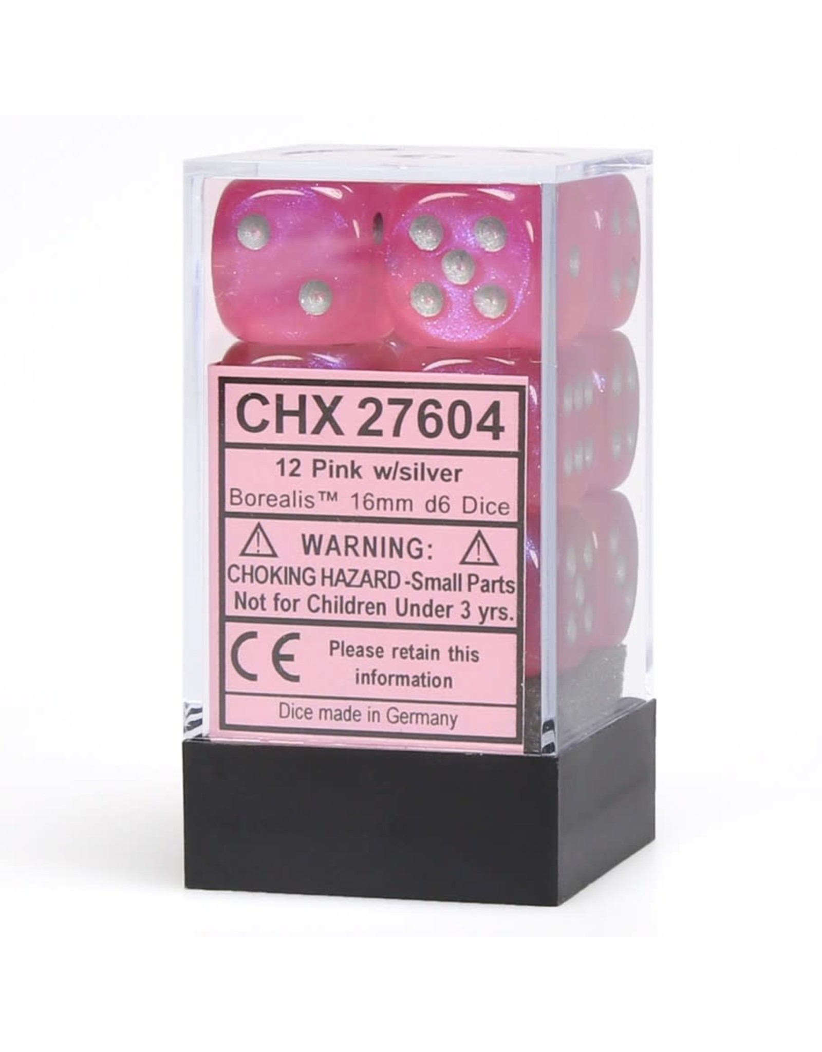 Chessex Borealis 16mm d6 Pink/silver (12)