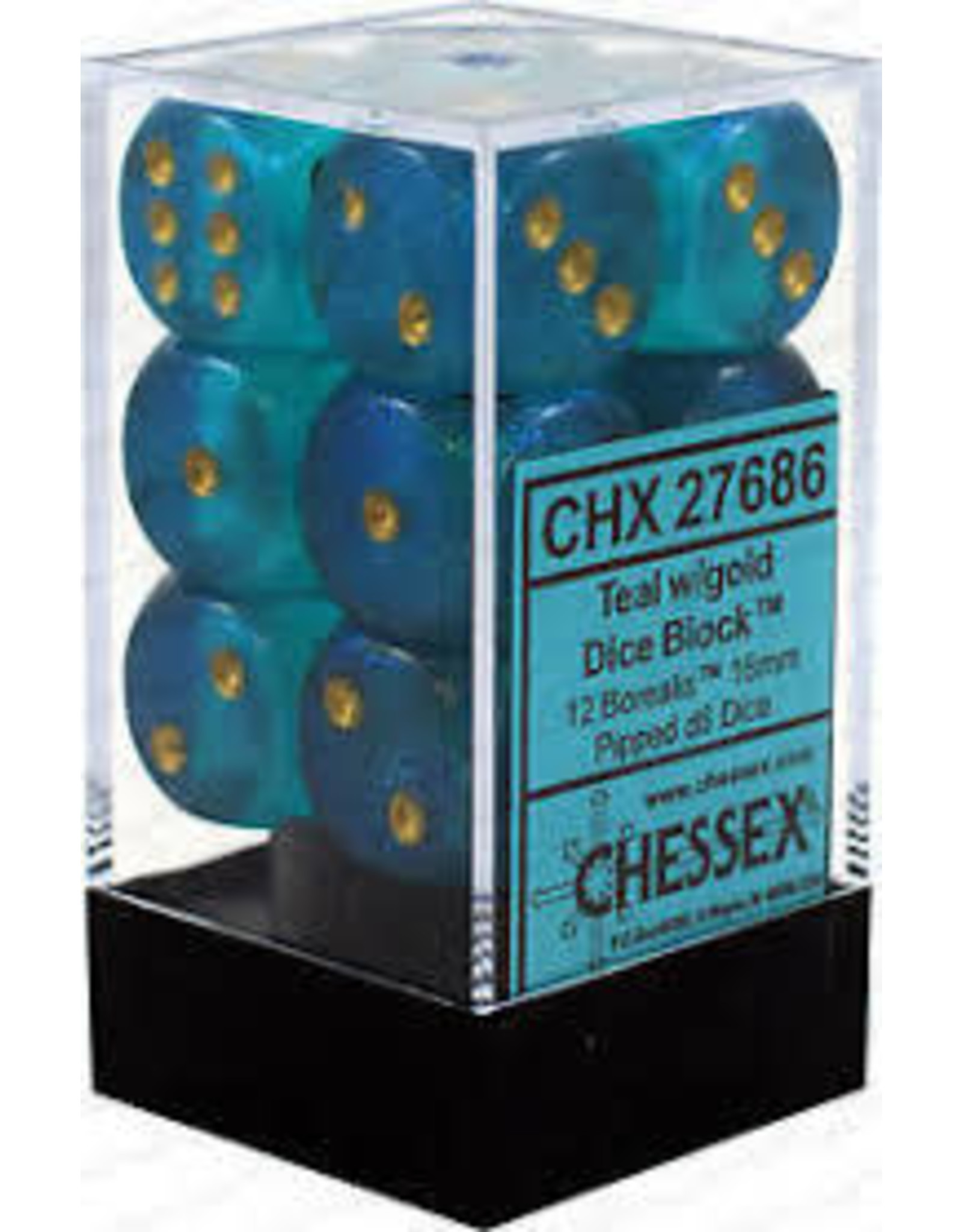 Chessex Borealis 16mm d6 Teal/Gold (12)