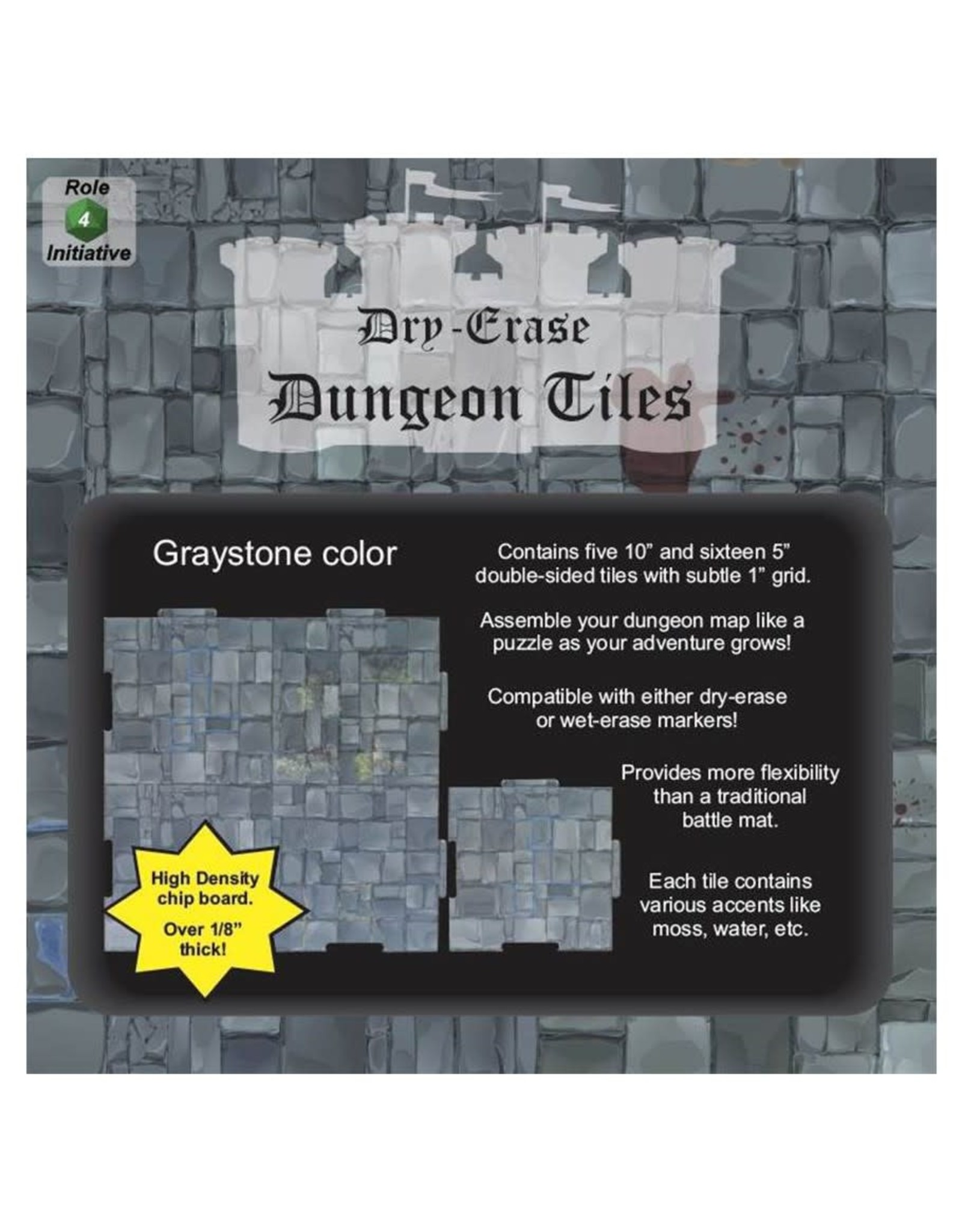 Dry Erase Dungeon Tiles (Squares COMBO) - Graystone Color