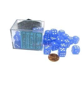 Frosted 12mm d6 Blue/white Dice Block (36 dice)