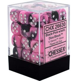 Chessex Gemini 12mm D6 Black Pink/White (36)