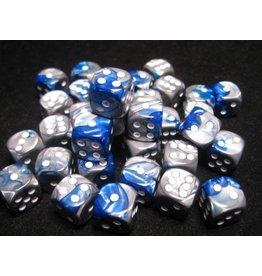 Chessex Gemini: 12mm D6 Blue Silver/White (36)