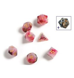 Sirius Dice RPG Dice Set (7): Pink, Black, Red Marble