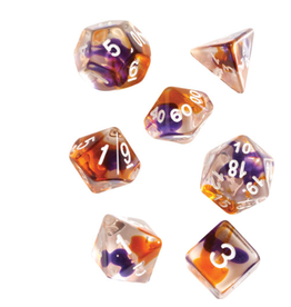 Sirius Dice RPG Dice Set (7): Purple, Orange Clear