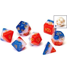 Sirius Dice RPG Dice Set (7): Red, White, and Blue Semi-Transparent Resin