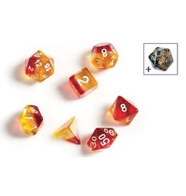 Sirius Dice RPG Dice Set (7): Yellow, Red Translucent