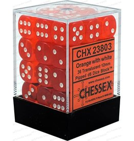 Chessex Translucent Orange/White D6 12mm (36)