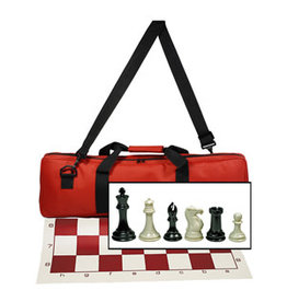 Wood Expressions Deluxe Tournament Chess Set: Red Bag 4in King Triple Weighted