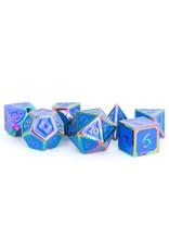Metallic Dice Games Metal Poly 7: Rainbow w/blue Enamel