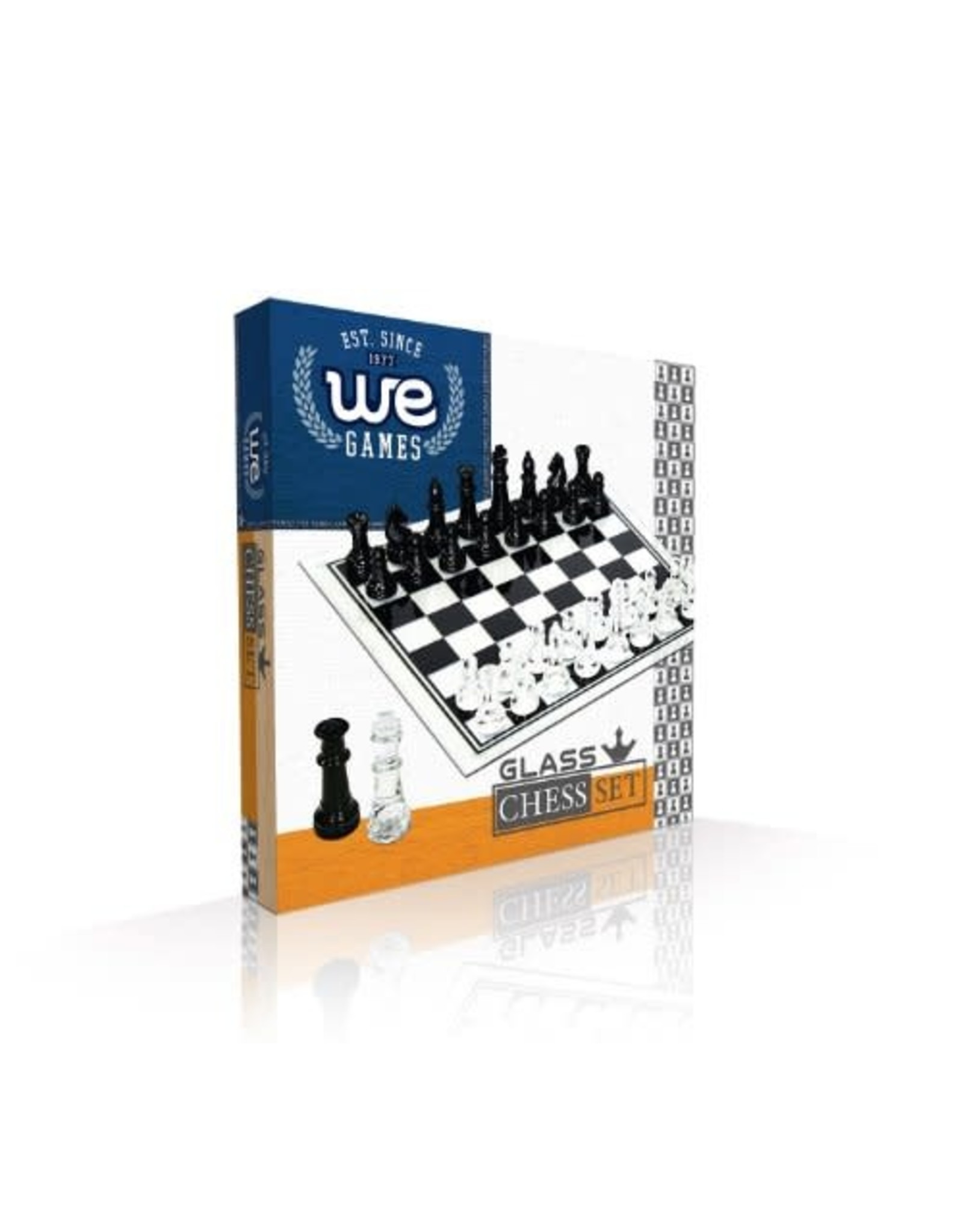 Wood Expressions Black and Clear Glass Chess Set