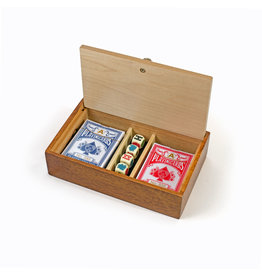 Wood Expressions Wood Card Box with Decks and Dice