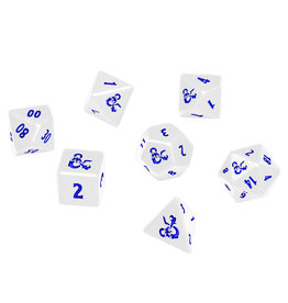 Ultra Pro Dungeons and Dragons RPG: Icewind Dale - Heavy Metal - Poly White and Blue Dice Set (7)