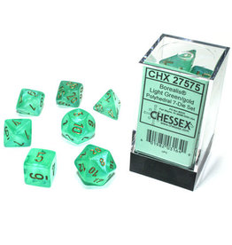 Chessex Borealis: Polyhedral Light Green/gold Luminary 7-Die Set