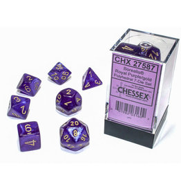 Chessex Borealis: Polyhedral Royal Purple/gold Luminary 7-Die Set