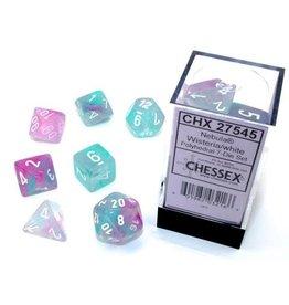 Chessex Nebula: Polyhedral Wisteria/white Luminary 7-Die Set
