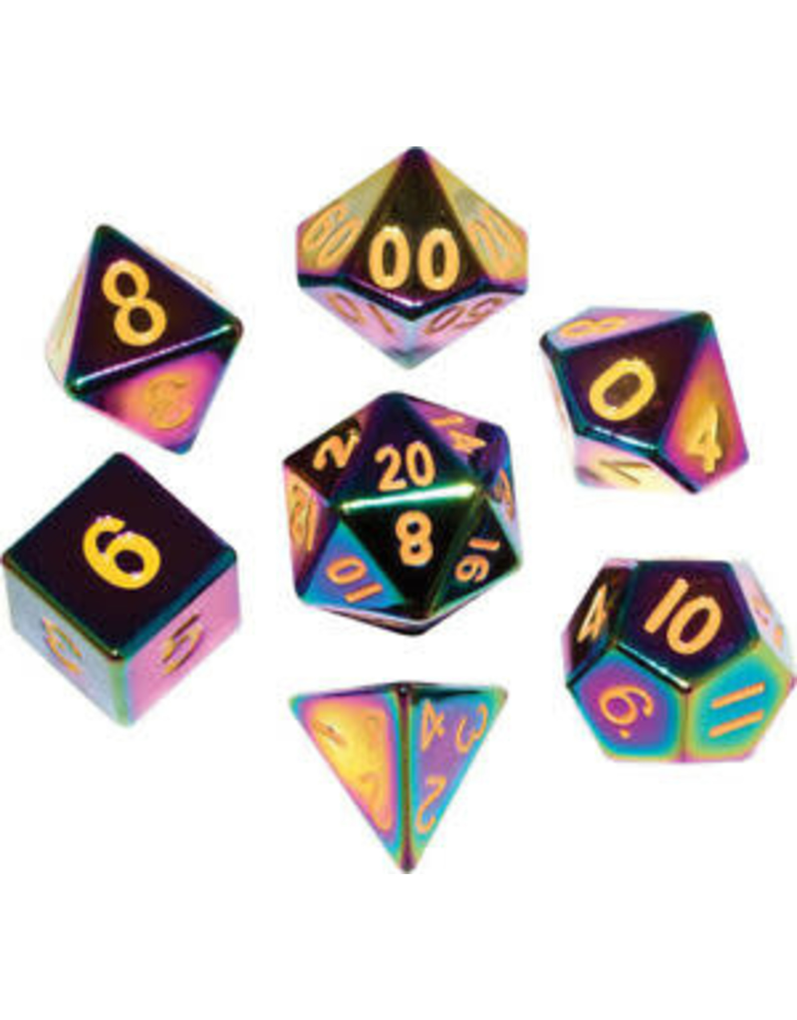 Metallic Dice Games 16mm Flame Torched Rainbow Metal Polyhedral Dice Set