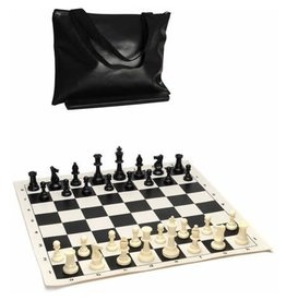 Wood Expressions Tournament Chess Pack – Staunton Pieces with Black Board and Black Tote