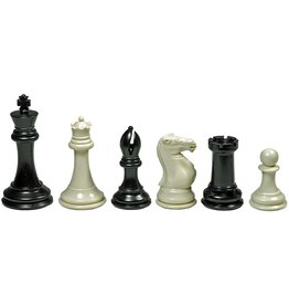 Wood Expressions Super Tournament Staunton Chessmen – Triple Weighted Black & Cream Plastic Set with 4 in. King