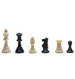Wood Expressions Classic Tournament Staunton Chessmen – Heavy Weighted Black & Cream Plastic Set with 3.75 Inch King