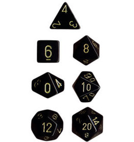 Chessex Opaque: Poly Set Black/Gold (7)