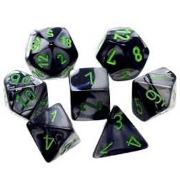 Chessex Gemini 5: Poly Black Grey/Green (7)