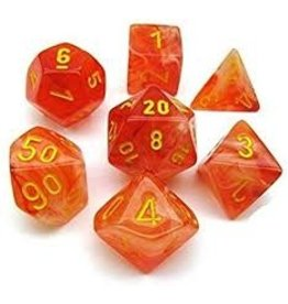 Chessex Dice Menagerie 9: Ghostly Glow Poly Orange/Yellow (7)