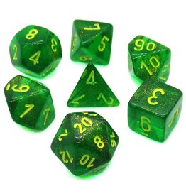 Chessex Dice Menagerie 10: Poly Borealis Maple Green/Yellow (7)