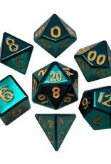 Metallic Dice Games 16mm Metal Dice Poly set (Turquoise-Gold)