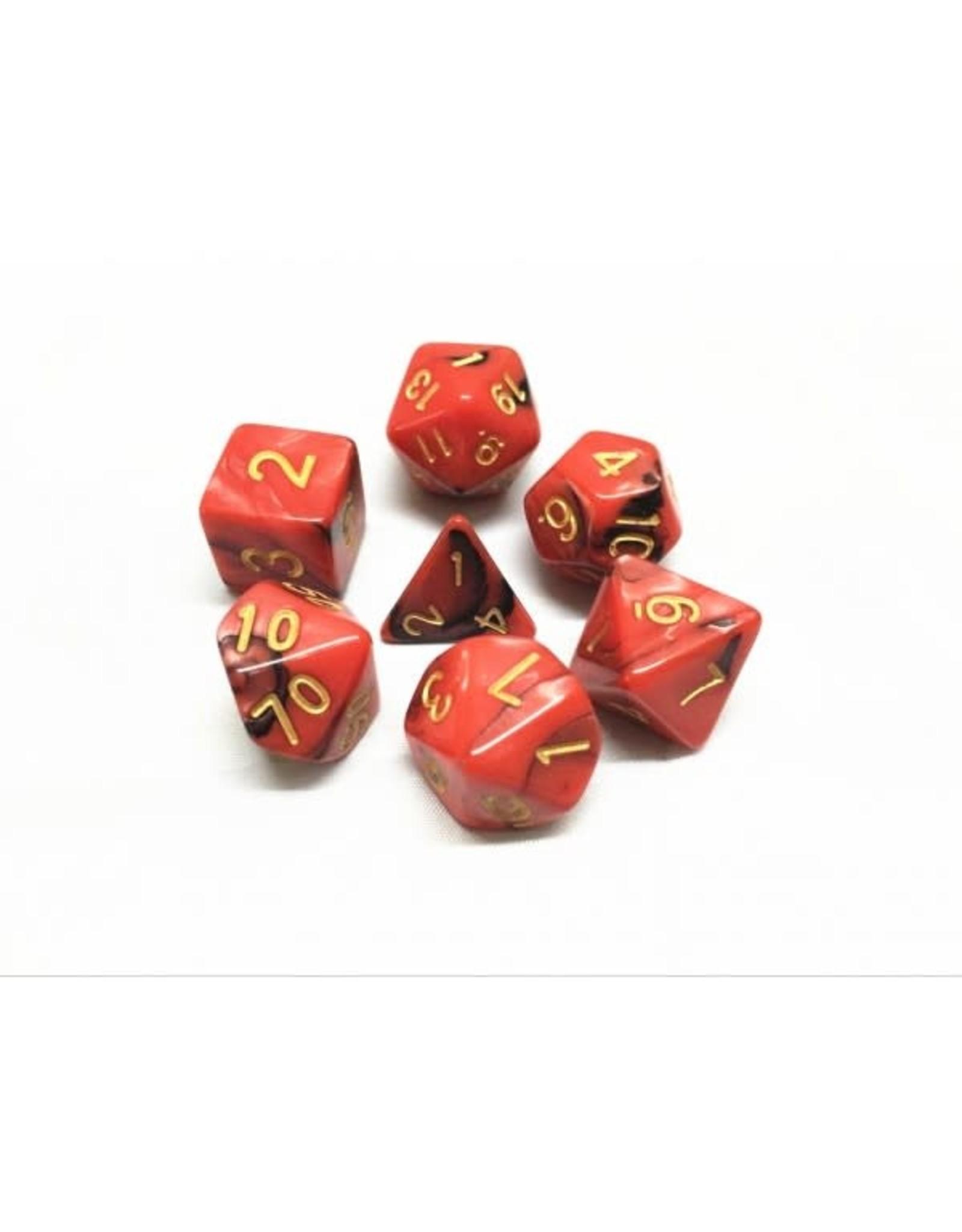 HD Dice, LLC. Blend Red-Black Poly Dice (7)