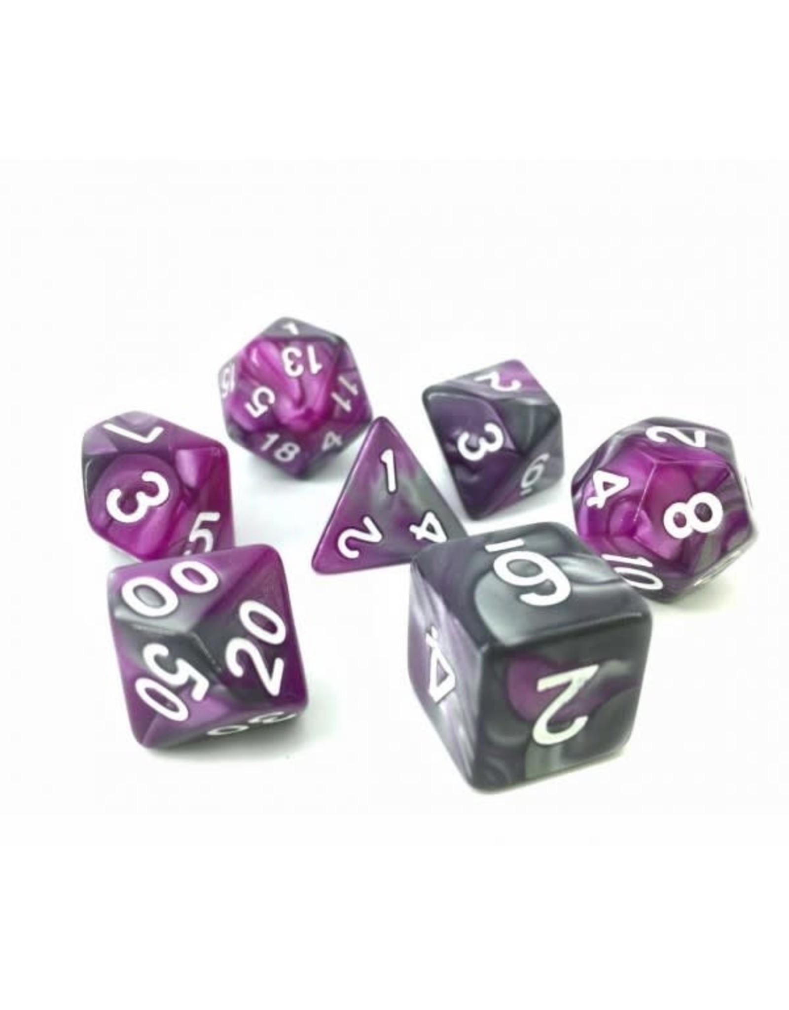 HD Dice, LLC. Blend Silver-Purple Poly Dice (7)
