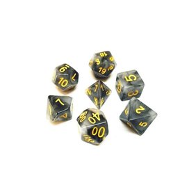 HD Dice, LLC. Ink Black/Yellow Poly Dice (7)