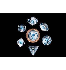 Metallic Dice Games Mini Poly Marble/Blue (7)