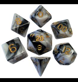 Metallic Dice Games Mini Poly Marble/Gold (7)