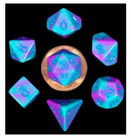 Metallic Dice Games Mini Poly Purple Teal/Blue (7)