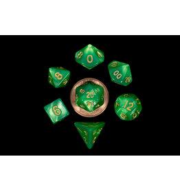 Metallic Dice Games Mini Poly Green Lignt Green/Gold (7)