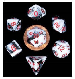 Metallic Dice Games Mini Poly Marble/Red (7)
