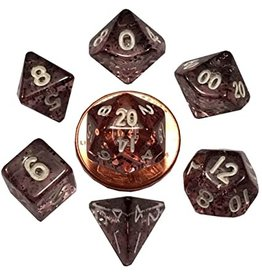 Metallic Dice Games Mini Polyhedral Dice Set: Ethereal Black with White Numbers