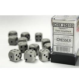 Chessex Opaque Grey/Black 16mm D6 (12)