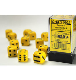 Chessex Opaque Yellow/Black 16mm D6  (12)