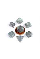Metallic Dice Games 10mm Mini Stardust Acrylic Poly Dice Set: Gray w/ Silver Numbers (7)