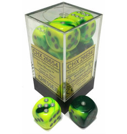 Chessex Gemini Green-Yellow/silver 16mm d6 (12)