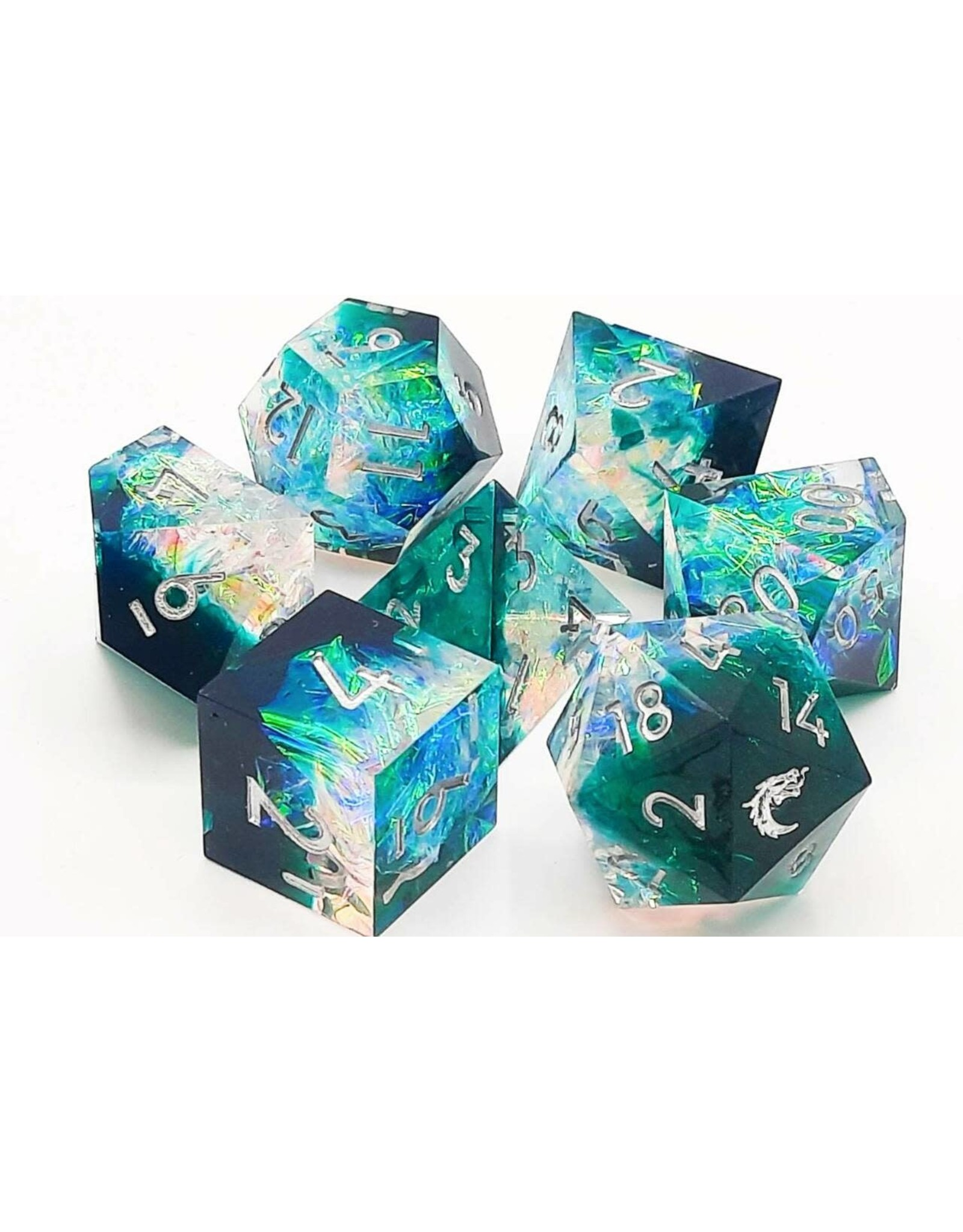 Old School Dice 7 Piece DnD RPG Dice Set: Sharp Edged - Emerald Forest